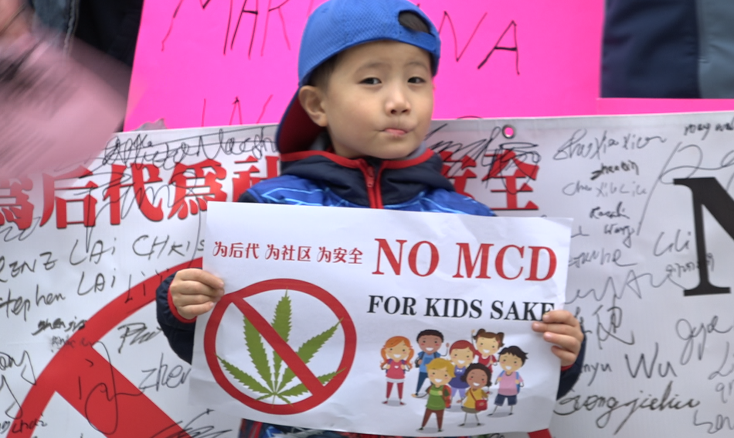 Kid Protesting against Marijuana