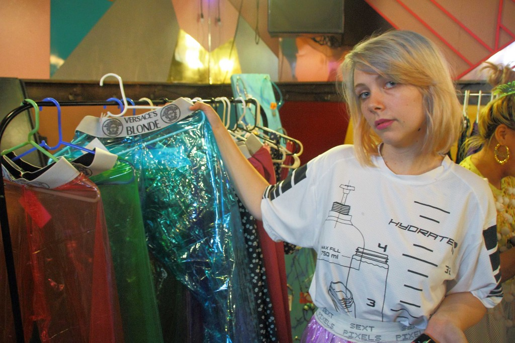 Designer Sarah Lathrop with her new line of clothing. Photo by Alberto Zamora September 20th 2014